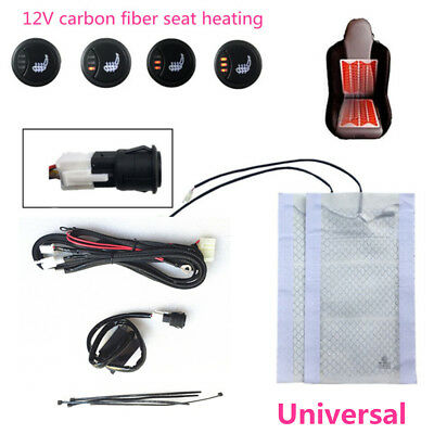 Universal 12V Button 3-Level LED Switch Carbon Fibre Car Seat Heater Heating Pad