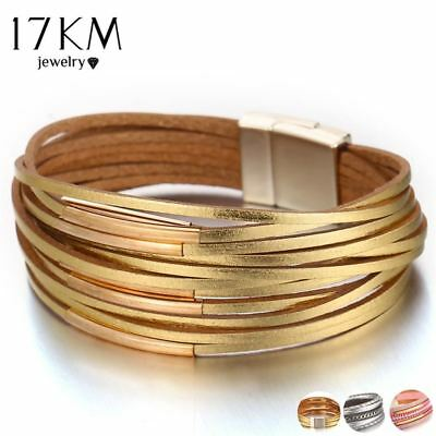 New Gold Leather Wrap Bracelets For Women Red Sliver Color Multiple Layers Charm