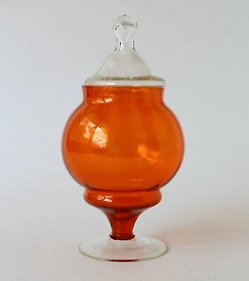 Vintage Retro 60s/70s ART GLASS LOLLY JAR/CANISTER Orange/Clear APOTHECARY