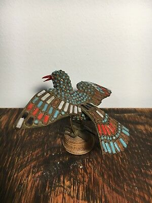 Antique Vintage Stone Beaded Tibetan Bird Statue Figurine
