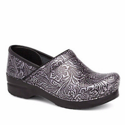 Dansko Women's Professional Grey Tooled Casual Clogs Sz 38 / US 8M