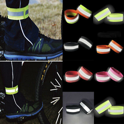 2Pcs/set Running Safety Reflective Arm Band Belt Strap Night Glowing Wristband