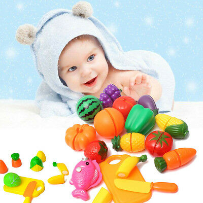 24Pcs Fruits Vegetable Food Toy Baby Kids Pretend Role Play Plastic Cutting Set