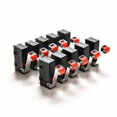 10Pcs Micro Roller Lever Arm Open Close Limit Switch KW12-3 Electrical Equipment