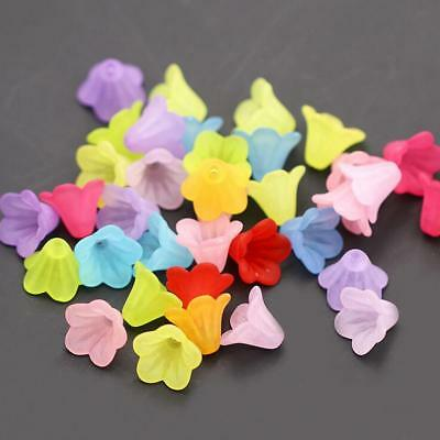 100pcs Mixed Flower Frosted Acrylic Spacer Beads Caps For Jewelry Making 14mm