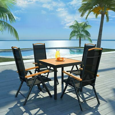 vidaXL Outdoor Dining Set 5 Piece Aluminium WPC Patio Table and Folding Chairs