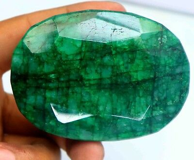 Hurry Up Now 1035Ct EGL Certified Natural Oval Cut Green Emerald Gemstone BO1616