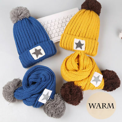 331d7120cbd Kids Warm Fleece Star Thick Knitted Winter Boys Girls Pom Beanie Hat Scarf  Set
