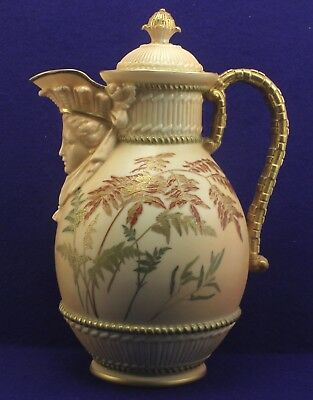 Incredible Rare Royal Worcester Porcelain Ewer Art Pitcher Spout Figural