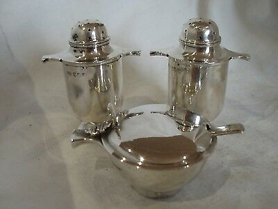 Quaich Shaped 4 Piece Cruet Set Sterling Silver Edinburgh 1934/36