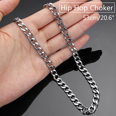 20.6inch 7mm Men's Stainless Steel Silver Gold Curb Link Chunky Chain Necklace