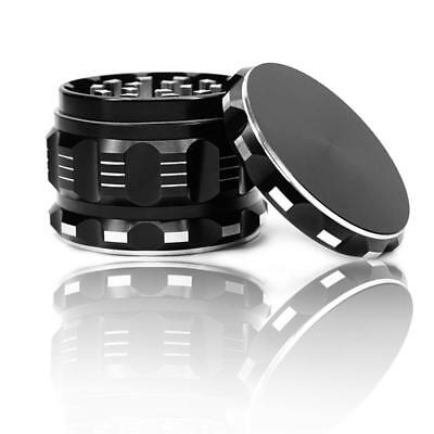 Chromium Crusher  Metal 2.5 Inch 4 Piece Tobacco Spice Herb Grinder (Black)