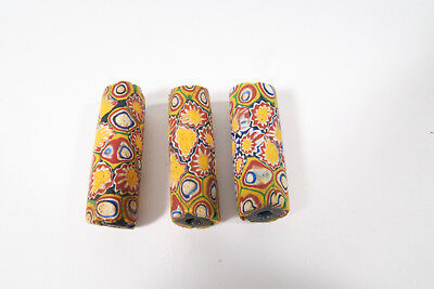 3 alte Millefiori Glasperlen AC21 Old Venetian African trade beads Murrine