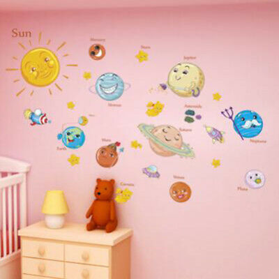 Solar System Wall Stickers For Kids Rooms Stars Outer Space Sky Wall Decals Z
