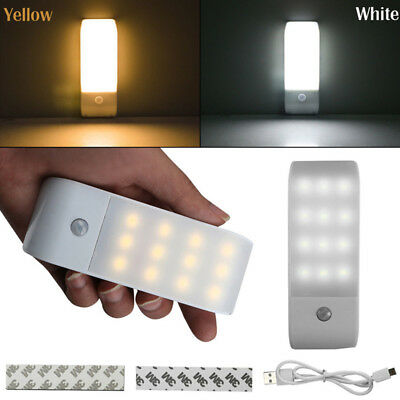 12 LED USB Rechargeable PIR Motion Sensor Under Cabinet Closet Home Light Night