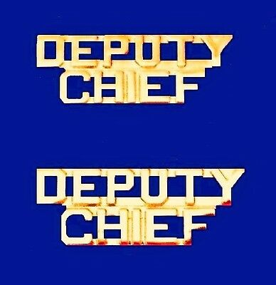 Deputy Chief Collar Pin Set Gold Cut Out Letters Fire Dept Police Rank P2214