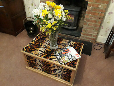 ANTIQUE PINE CHEST Wooden Blanket TRUNK Coffee TABLE Vintage BOX leopard print
