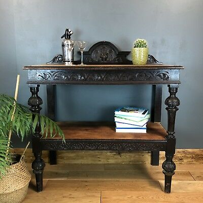 Jacobean Server Hall Table Shelving Unit Green Man Antique Rustic  Arts & Crafts