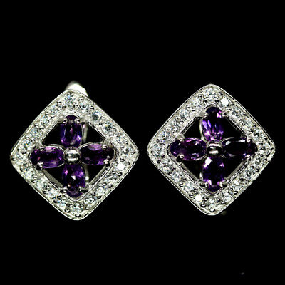 Antique! Natural! Purple Amethyst & Whtie Cz Earrings 925 Silver Sterling