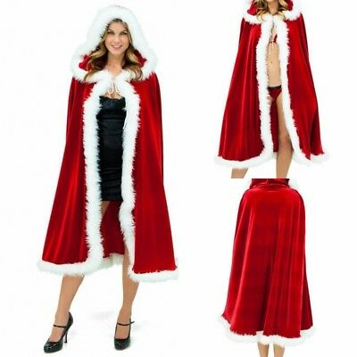 Women Christmas Santa Claus Hooded Cape Faux Fur Coat Xmas Party Cosplay Costume