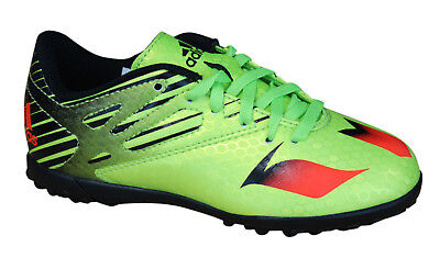 586f8cc0019f Adidas Messi 15.4 TF Astro Turf Juniors Football Boots Lace Up Green S74693  D22