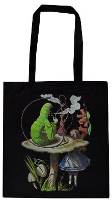 ALICE IN WONDERLAND BLACK COTTON TOTE BAG VINTAGE CATERPILLAR MUSHROOM FLOWER