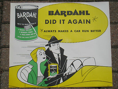 RARE BARDAHL DETECTIVE IN OLD CAR BARDAHL OIL LARGE SIGN 1950's NEW OLD STOCK