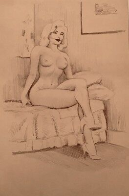 TED WITHERS MARILYN ORIGINAL 50s PIN-UP Nude DRAWING Vintage Pinup Blonde Legs