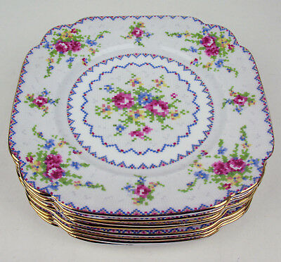 "Set of 8 x Dessert Tea Side Plates 6 7/8"" Royal Albert Petit Point Vintage"