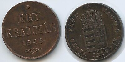 G13203 - Hungary Egy Krajczar 1848 KM#430.1 VF-XF War of Independence Coinage
