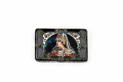 Antique Russian silver 88 cloisonne and pictorial enamel box by Feodor Ruckert.