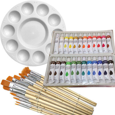 Artist 24 ACRYLIC COLOR Painting Paint Set + 12 Brush Set with Round Palette SET