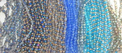 6mm Frosted Flat Coin Chinese Crystal Glass Bead Q2 Strands Blue Green Aqua