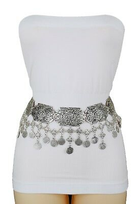 Women Silver Metal Chain Charms Hip Waist Moroccan Style Fashion Wide Belt M L