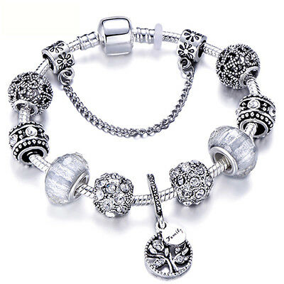 "Sterling Silver Pandora Bracelet Bangle with ""Love Story"" European Charms"