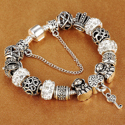 "Authentic Pandora Bracelet With ""HEART CLASP"" European Charms Silver Bangle"