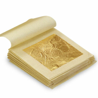 10/20/50/100x Pure 24k Gold Leaf Sheets Book Food Grade Edible Crafts 4.3*4.3cm