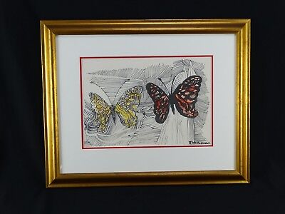RARE original Charles Blackman Watercolour Lithograph Drawing Butterflies Signed