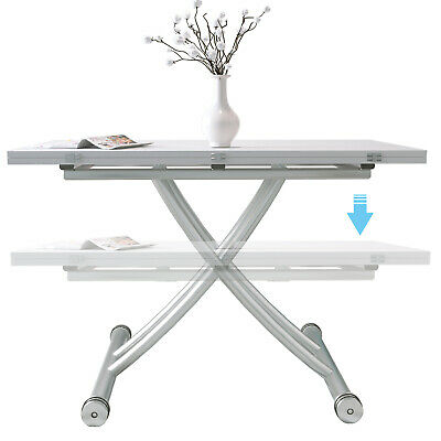 Foldable Table Elevated 5in 1 Rectangle Dining table Meeting/Coffee Table White