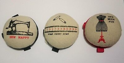 Wrist Arm Pin Cushion Pincushion Red Black  Elastic Strap Button Sewing Gift Sew