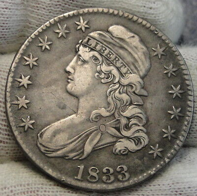 1833 Capped Bust Half Dollar 50 Cents - Nice Coin.. Free Shipping  (7725)