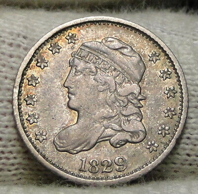 1829 Capped Bust Half Dime H10C 5 Cents - Nice Old Coin, Free Shipping  (7652)