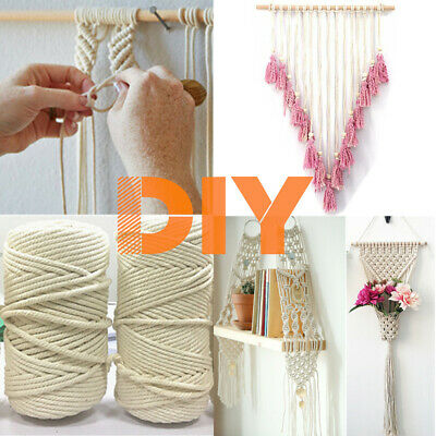 New 3/4/5/6mm Macrame Rope Natural Beige Cotton Twisted Cord Artisan Hand Craft