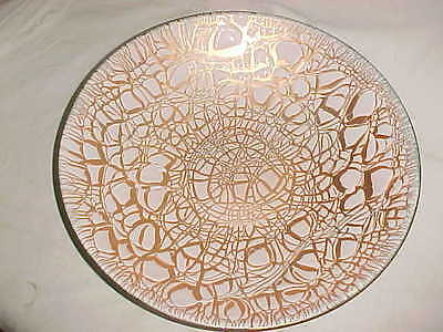 "13 5/8"" Signed Harold Tishler Modern Enamel Copper Art Bowl Midcentury Abstract"
