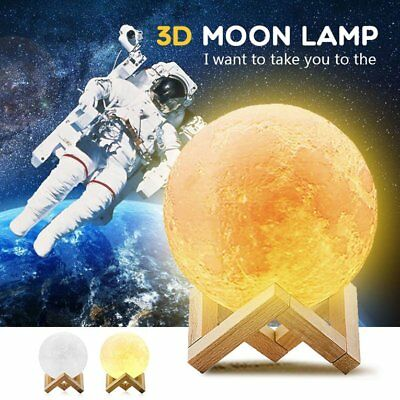 Rechargeable 3D Print Moon Lamp 18CM Touch Switch Bedroom Bookcase Night Light@g