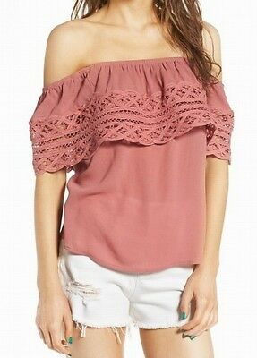 85f1ad5f78e37c Socialite NEW Pink Women s Size XS Off-Shoulder Popover Crochet Blouse  607