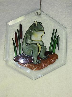"""Vintage STAINED GLASS Frog Window Decoration Beveled Glass HEXAGON 14"""" Chain"""