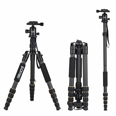 ZOMEI Q666C Carbon Fiber Tripod Portable Monopod Flexible For Canon DSLR Camera