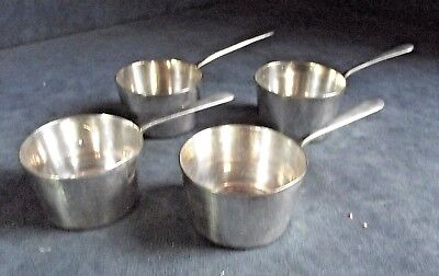 4 SUPERB ~ SILVER Plated ~ 'SAUCEPAN' ~ Sauce / Condiment PANS ~ c1900 by Hutton