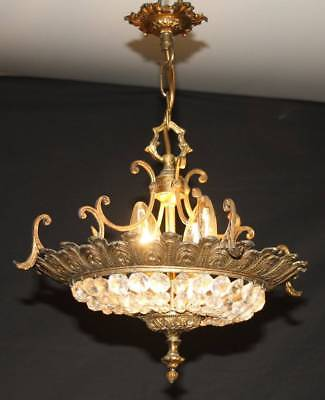 A VINTAGE FRENCH CHANDELIER GLASS BAG sac a perle CEILING LIGHT (NV29)
